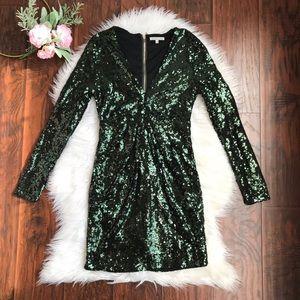 Charlotte Russe Green Sequin V Neck Mini Dress